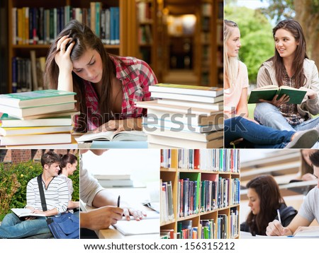 Collage of students studying at the university - stock photo