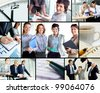 Collage of successful business partners at work - stock photo
