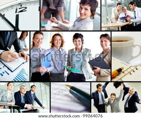 Collage of successful business partners at work