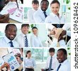 Collage of successful business team - stock photo