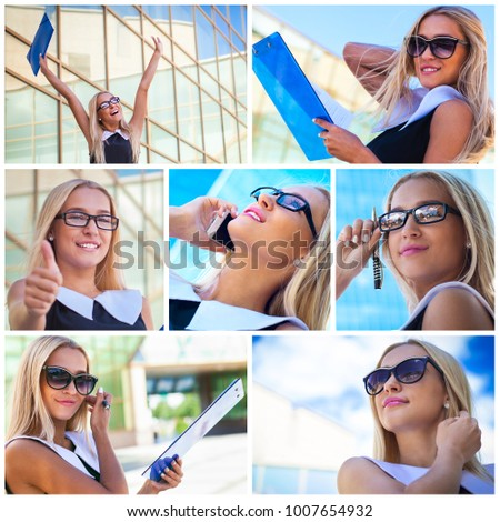 Collage of successful businesswoman talking on cellphone next modern building. Business woman working
