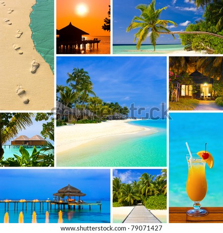 Collage of summer beach maldives images - nature and travel background - stock photo