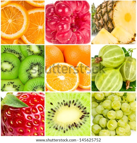 Collage of summer fruits in the sunlight. Texture close-up. - stock photo