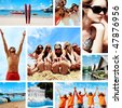 Collage of summer pictures with young people on the beach. - stock photo