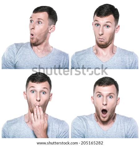 Collage of surprised, amazed, wondering face expressions - stock photo