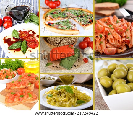 Collage of tasty Italian food - stock photo