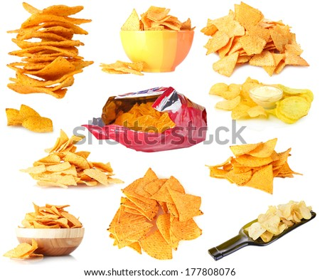 Collage of  tasty potato chips isolated on white - stock photo