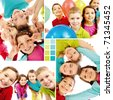Collage of team of happy kids in joyful mood - stock photo