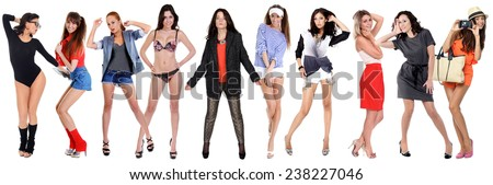 Collage of ten beautiful sexy woman, isolated on white  - stock photo