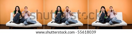 Collage of terrified couple watching TV a horror movie and facial expressions - stock photo