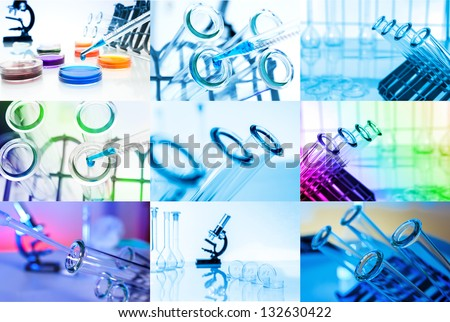 Collage of Test tubes closeup. Laboratory glassware - stock photo