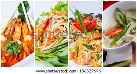 Collage of thai food (Tom Yum Kung, Som Tum, Pad Thai, Green curry) - stock photo