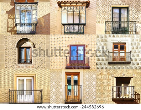 Collage of the ancient unique windows of Segovia, Spain - stock photo