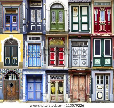 Collage of the Goslar doors.  Lower Saxony, Germany - stock photo