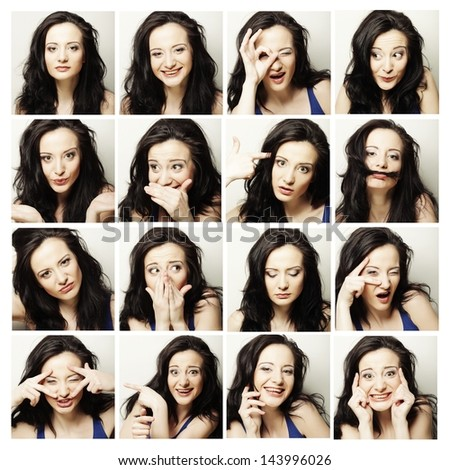 Collage of the same woman making diferent expressions - stock photo