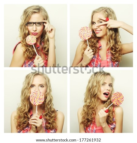 Collage of the same woman making different expressions. Studio shot. - stock photo