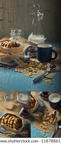 Collage of  three photos showing peanut cookies, jars with jam and condensed milk, bottle with milk on the craquelure background - stock photo