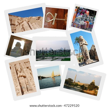 Collage of travel photos from Egypt showing some of the areas most visited tourist destinations, Abu Simble, Pyramids, Sphynx, Nile, Hieroglyphics - stock photo