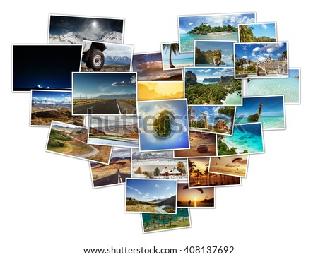 Collage of travel photos located in shape of heart - stock photo