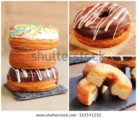 Collage of trendy puff pastries, half croissant and half donut - stock photo