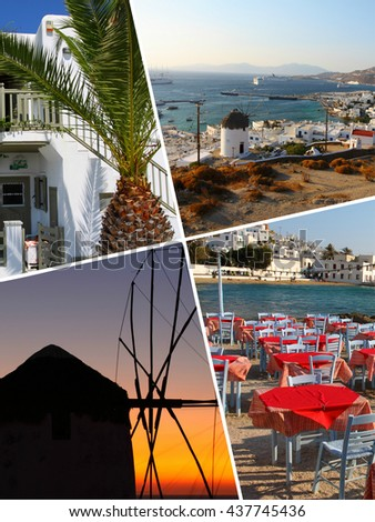 Collage of Tropical Greece islands images - travel background (my photos) - stock photo