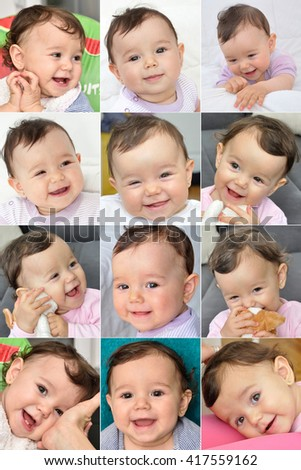 Collage of twelve photos of a smiling baby girl - stock photo