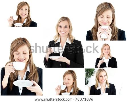 Collage of two blonde women enjoying some coffee - stock photo