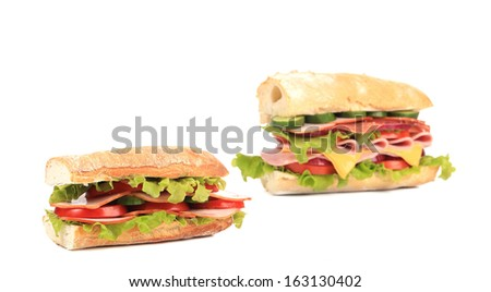 Collage of two fresh sandwiches. Isolated on a white background. - stock photo