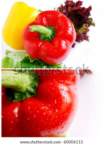 Collage of two images with sweet peppers - stock photo