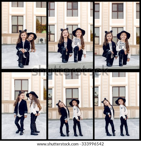 Collage of two little happy fashion girls - stock photo
