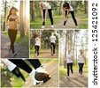 Collage of two pretty women doing fitness outdoor - stock photo