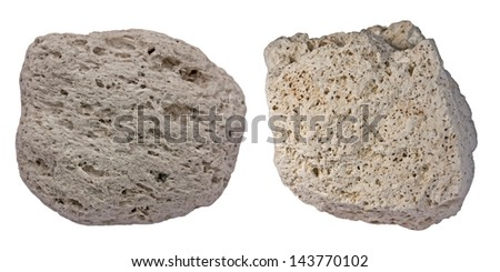 Collage of two pumice pebbles showing typical appearance of this light-weight volcanic rock. Samples are from Sanorini (left) and Tenerife (right)