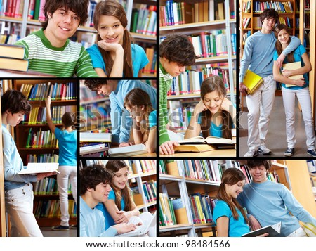 Collage of two students reading books and interacting in library - stock photo