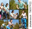 Collage of two young people on bikes - stock photo