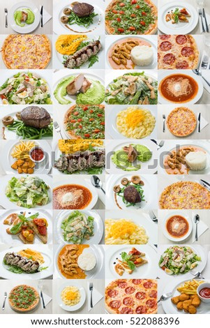 Collage of variety food and dishes served in restaurant