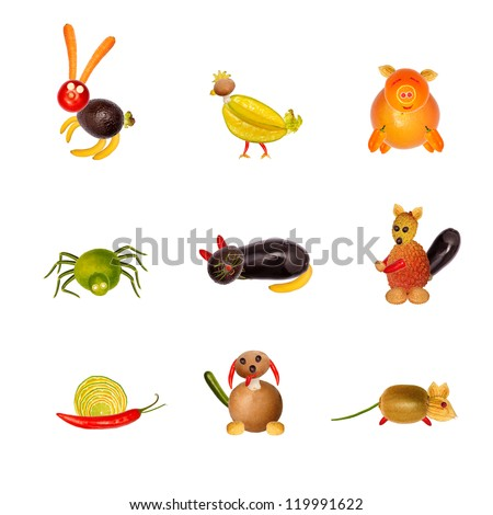 collage of various animals from fruit and vegetables