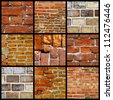 Collage of various brick walls - stock photo