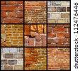 Collage of various brick walls - stock photo