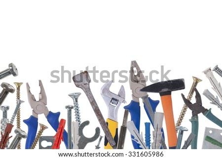 Collage of various construction tools. Studio photography on a white background. Isolated. - stock photo