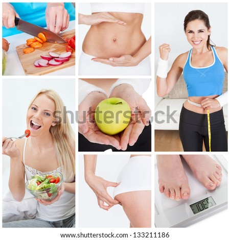 Collage of various dieting related images and concepts - stock photo