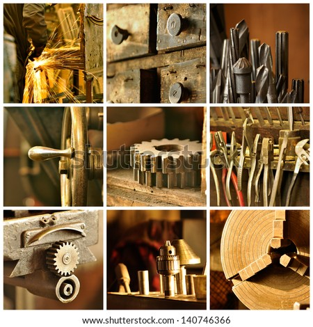 Collage of various images from an old machine shop. - stock photo