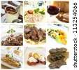 Collage of various Italian dishes - stock photo
