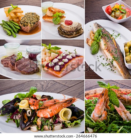 collage of various meals with meat, fish and shrimp - stock photo