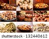 Collage of various nuts - stock photo