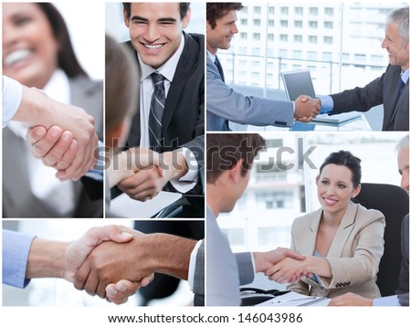 Collage of various pictures showing business people shaking hands - stock photo