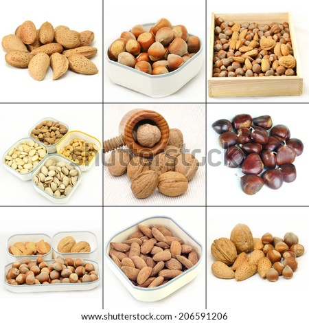 Collage of various salted mixed nuts isolated in white