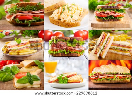 collage of various sandwiches - stock photo
