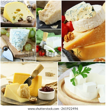 collage of various types of cheese (brie, parmesan, cheddar, blue) - stock photo