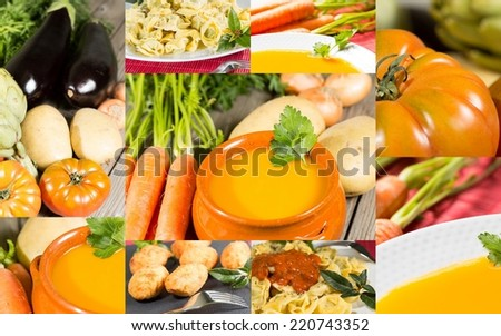 Collage of vegetables and fresh and cooked vegetables - stock photo