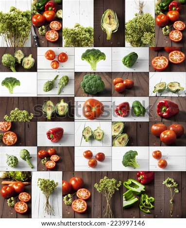 Collage of vegetables: bell peppers, broccoli, artichoke, tomatoes, carrots and oregano. All of them are on a white or brown wooden table. - stock photo